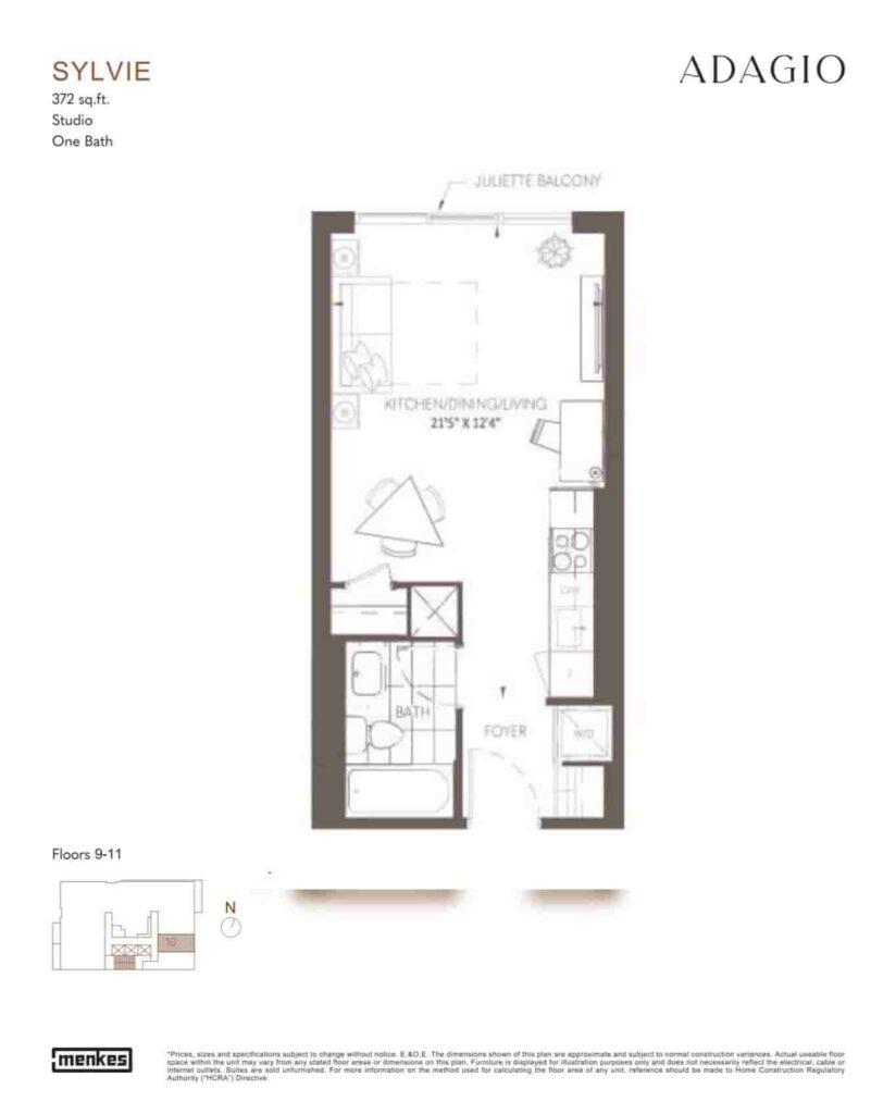 Adagio Condos floor plan sylvie